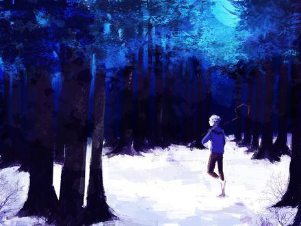 Обои Джек Фрост / Jack Frost из мультфильма Хранители снов / Rise of the Guardians в зимнем лесу