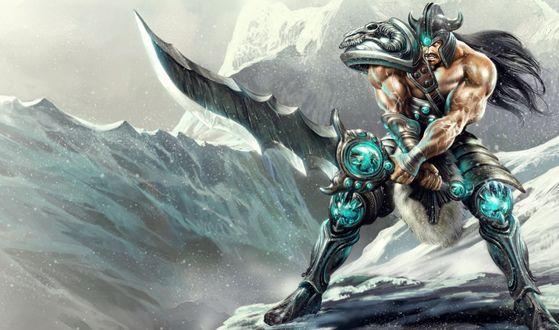 Обои Триндамер / Tryndamere из игры Лига Легенд / League of Legends приготовился к сражению в снежных горах