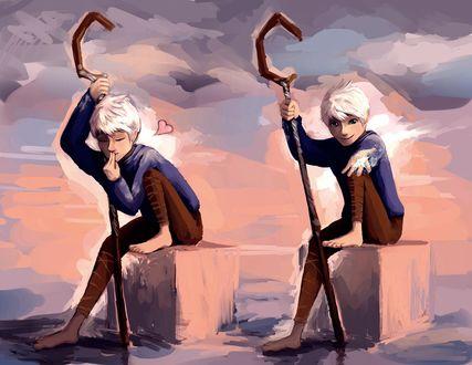 Обои Джек Фрост / Jack Frost из мультфильма Хранители снов / Rise of the Guardians посылает вам воздушный поцелуй