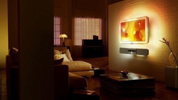 Обои Современная комната с удобным диваном и плоским телевизором