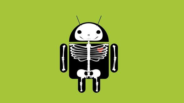 Обои Логотип операционной системы Android / Андроид под рентгеном, со скелетом и сердцем