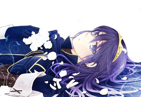 Обои Люцина / Lucina из игры Fire Emblem: Kakusei лежит в цветах