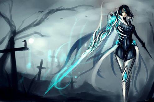 Обои Фиора / Fiora из игры Лига Легенд / League of Legends идёт посреди кладбища