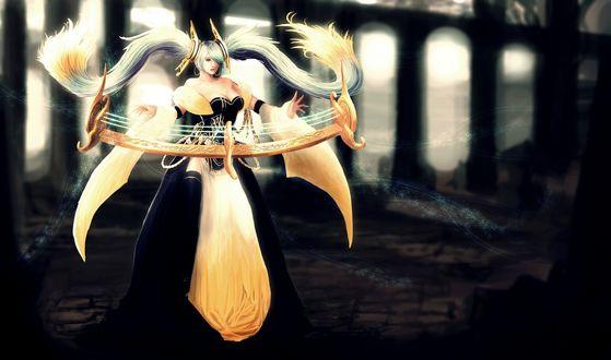 Обои Сона / Sona из игры Лига Легенд / League of Legends играет на своём музыкальном инструменте