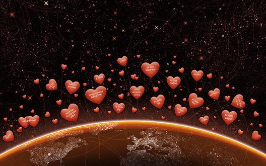 Обои Признание в любви на разных языках летают в космосе над планетой