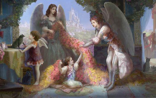 Обои Ангелы со множеством цветом и котятами
