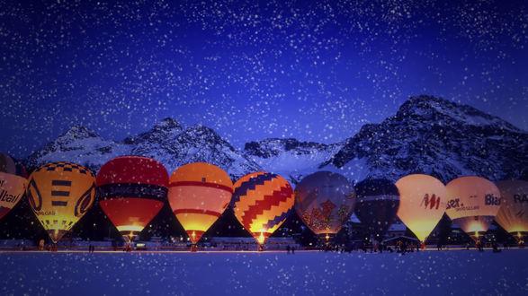 Обои Множество воздушных шаров готовятся к полету на горнолыжном курорте Ароса / Arosa в Швейцарии / Switzerland