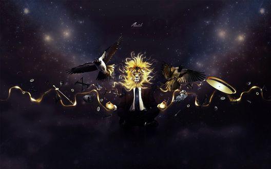 Обои Лев, царь зверей с телом человека, среди кусков часовых механизмов, в сопровождении двух сорок, находится посреди космоса (Aicatch)