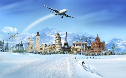 Обои Самолёт вылетает из зимнего города, где собраны все чудеса света