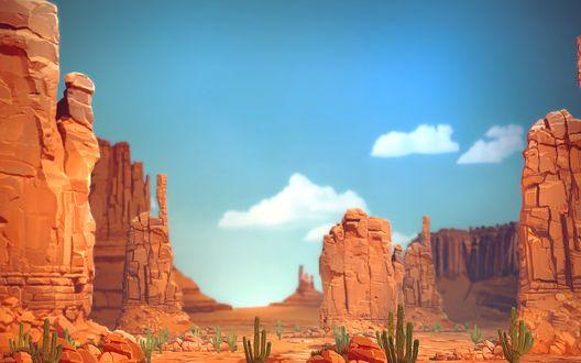 Обои Красные скалы каньена и кактусы на фоне неба и облаков