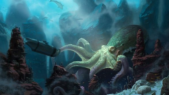 Обои Гигантский осьминог на дне океана и исследующая его подводная лодка