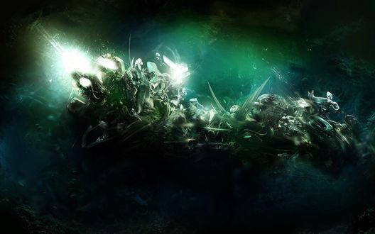 Обои Зеленая абстракция во тьме