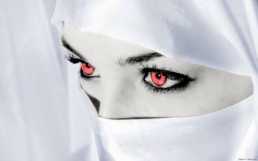 Обои Красные глаза девушки в белом