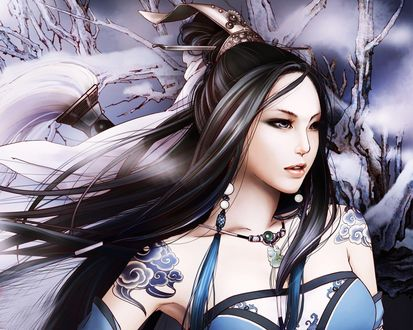 Обои Привлекательная японская девушка из игры Jx Online на фоне заснеженных деревьев