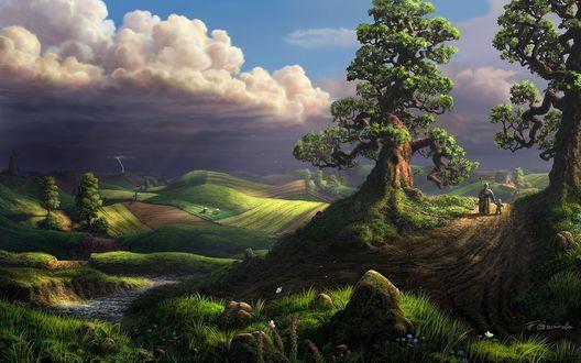 Обои Бабушка с внуком идут по грунтовой дороге мимо деревьев с необычными кривыми ветками, стоящими на зеленом поле, на линии горизонта в грозовом небе сверкают молнии