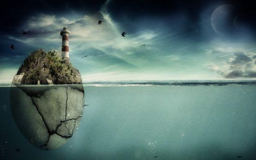 Обои Дрейфующий морской остров с маяком, подводная часть напоминает яйцо с трещинами, вокруг летают птицы, на небе крупная луна