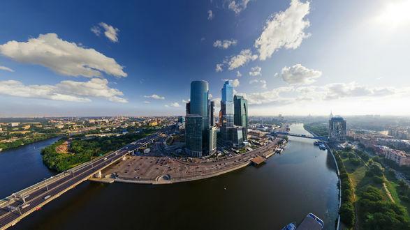 Обои Панорама комплекса небоскребов Московского Международного Делового Центра Москва-Сити на берегу Москвы-реки