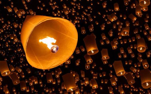 Обои Множество японских фонариков взлетают в ночное небо
