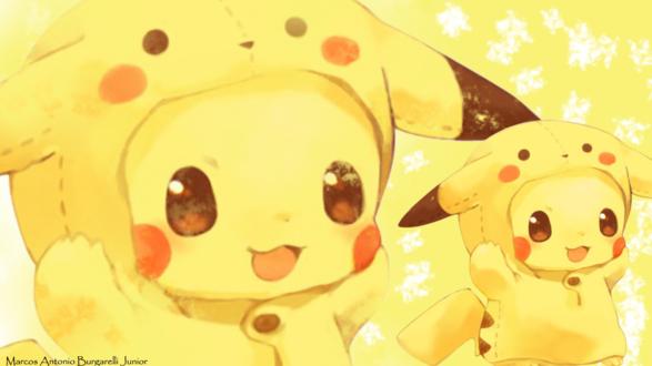 Обои Pikachu / Пикачу в костюме из аниме Покемон / Pokemon