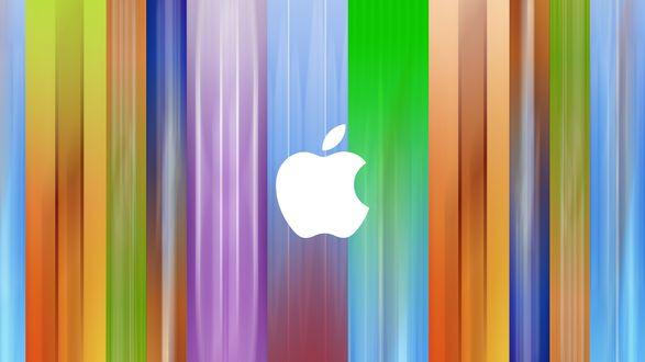 Обои Логотип компании Apple / Эппл, на фоне разноцветных полос