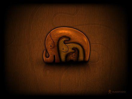 Обои Индийский деревянный талисман три слона, находящиеся друг в друге (VladStudio)