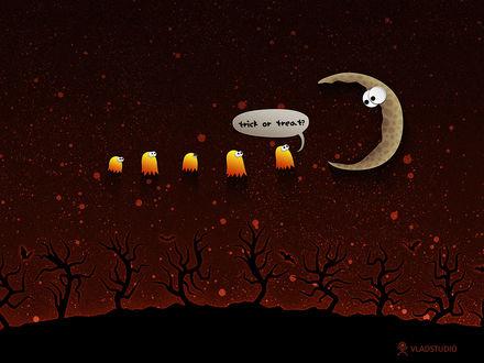Обои Маленькие привидения в красном ночном небе спрашивают у луны: 'Кошелек или жизнь?' (Trick or Treat? ) (vladstudio)