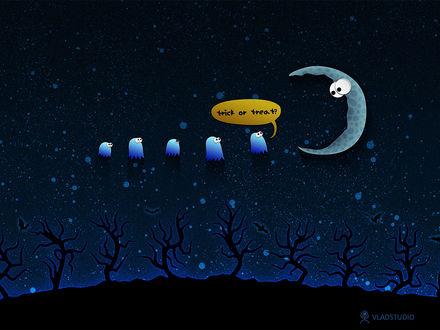 Обои Маленькие привидения в синем ночном небе спрашивают у луны: 'Кошелек или жизнь?' (Trick or Treat? ) (vladstudio)