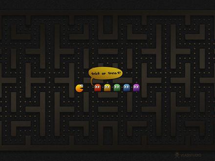 Обои Маленькие привидения в лабиринте спрашивают у Пек-Мена: 'Кошелек или жизнь?' / Pac-Man (Trick or Treat? ) (vladstudio)
