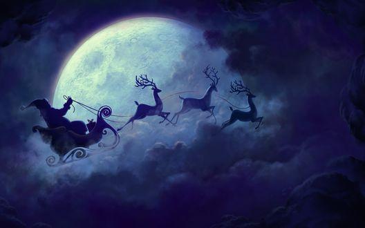 Обои Санта Клаус едет на санях, которые везут по ночному небу олени