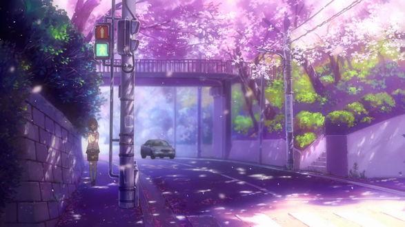Обои Нагиса Фурукава / Nagisa Furukawa идет по дороге в городе из аниме Кланнад / Clannad After Story