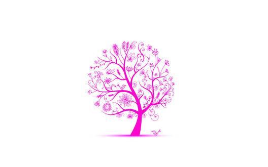 Обои Весеннее розовое дерево, под которым сидит птица