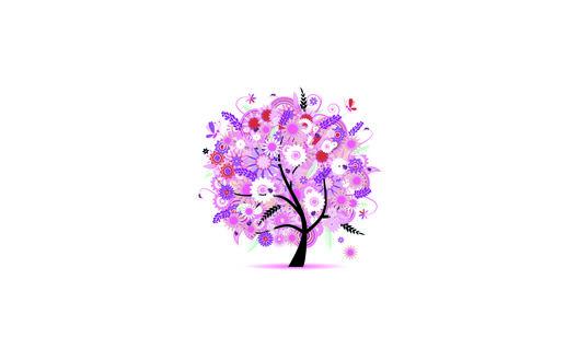 Обои Весеннее дерево в розовых и фиолетовых тонах, покрытое цветами