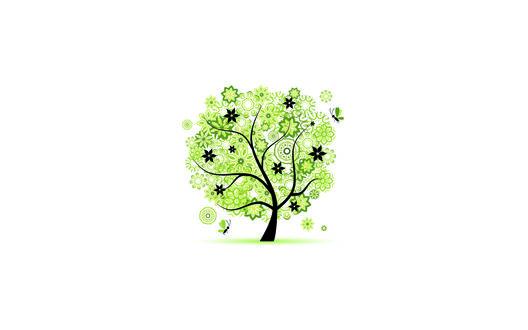 Обои Бабочки, порхающие вокруг яркого зеленого дерева