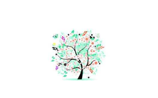 Обои Яркая бирюзовая листва и белые цветы на весеннем дереве