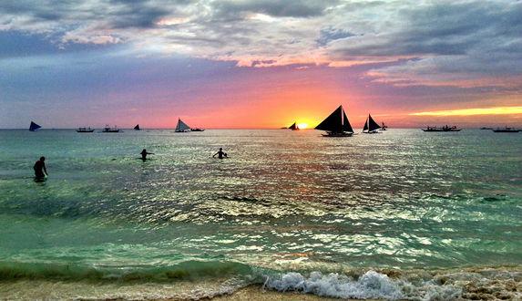 Обои Закат пляжа, Филиппины / Pilipinas