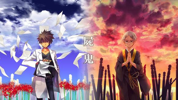 Обои Тошио Одзаки / Toshio Odzaki и Сэйшин Мурой / Seiishin Muroi из аниме Шики / Shiki