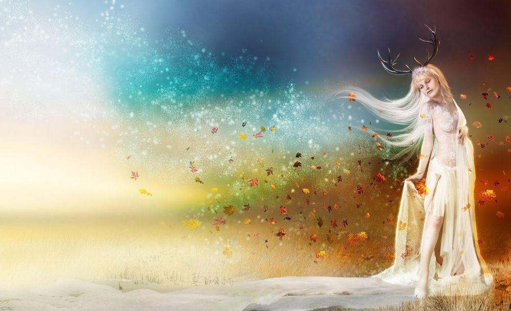 Обои для рабочего стола Женщина, которая олицетворяет зиму, идёт по полю, оставляя за собой снежной покров там, где раньше была осень