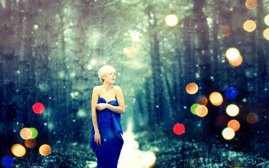 Обои Девушка в синем платье стоит в зимнем лесу