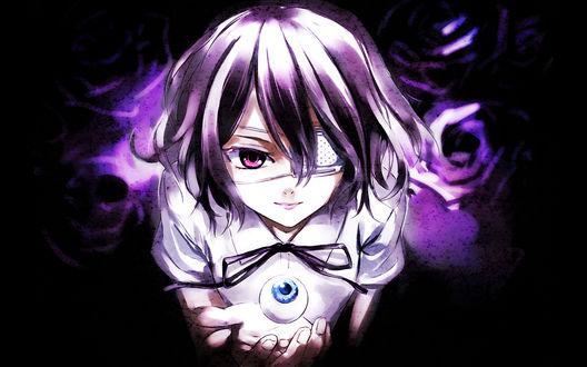 Обои Мисаки Мэй / Misaki Mei из аниме Иная / Another с глазом на фоне роз