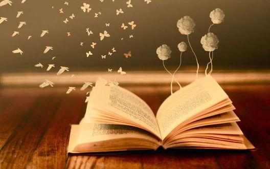 Обои Из книги растут цветы, вылетают птицы и бабочки