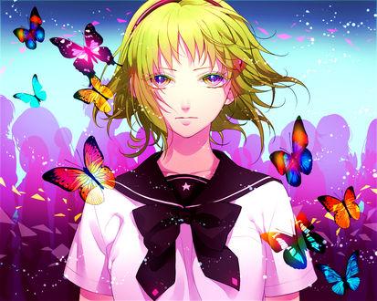 Обои Vocaloid Gumi Megpoid / Вокалоид Гуми Мегпоид и бабочки