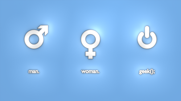 Обои Символы мужчины, женщины, Сети на голубом фоне (Мужчина, женщина, компьютерщик / man. woman. geek();)