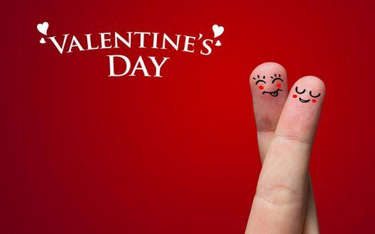 Обои Довольные пальцы на красном фоне (Valentine`s Day / День Святого Валентина)