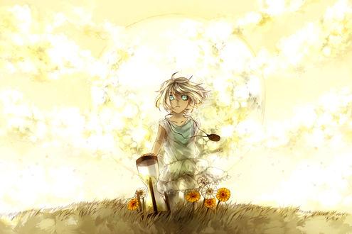 Обои Светловолосая девушка с большими голубыми глазами без зрачков, с медальоном на шее, стоит на коленях в траве среди цветов, придерживая рукой большие песочные часы, на фоне сияющей планеты, арт мангаки Аошики / art by Aoshiki