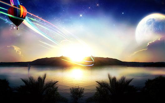 Обои Воздушный шар летит над озером, закат и вдали большая луна