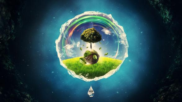 Обои Посреди темного космоса парит кусочек зеленой планеты в мыльном пузыре, в пустом поле растет дерево и светит солнце (wonderland)