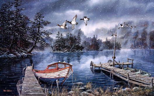 Обои У причала в озере стоят лодки и над ними летят гуси во время идущего снега, Ken Zylla