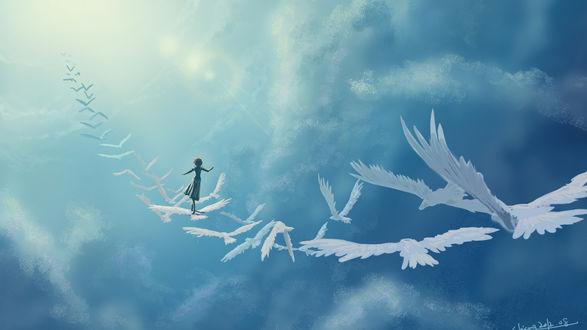 Обои Девушка идет по белым птицам в небе