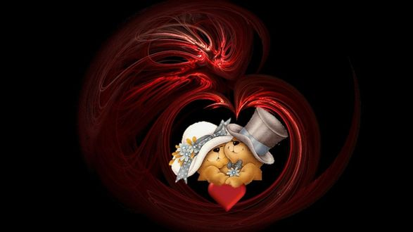 Обои Игрушечные медвежата в шляпах жениха и невесты и с сердечком в лапах обнимаются