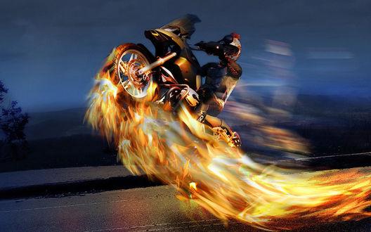 Обои Призрачный гонщик: парень мчится на горящем автомобиле